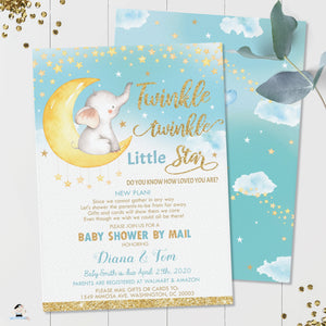 Twinkle Little Star Elephant Baby Boy Shower Invitation by Mail - Instant EDITABLE TEMPLATE - TS1
