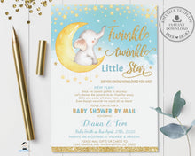 Load image into Gallery viewer, Twinkle Little Star Elephant Baby Boy Shower Invitation by Mail - Instant EDITABLE TEMPLATE - TS1