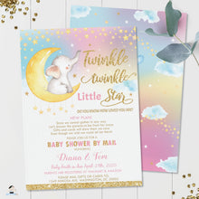 Load image into Gallery viewer, Twinkle Little Star Elephant Baby Girl Shower Invitation by Mail - Instant EDITABLE TEMPLATE - TS1