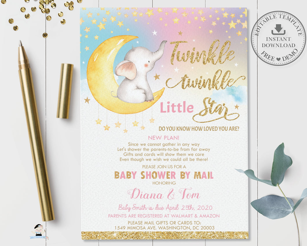 Twinkle Little Star Elephant Baby Girl Shower Invitation by Mail - Instant EDITABLE TEMPLATE - TS1
