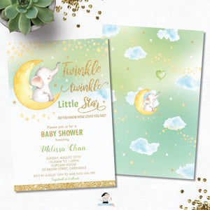 Whimsical Twinkle Twinkle Little Star Elephant Gender Neutral Baby Shower Invitation - Instant EDITABLE TEMPLATE - TS1