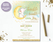 Load image into Gallery viewer, Whimsical Twinkle Twinkle Little Star Elephant Gender Neutral Baby Shower Invitation - Instant EDITABLE TEMPLATE - TS1