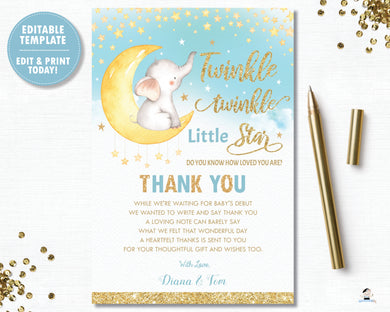 Whimsical Twinkle Twinkle Little Star Elephant Boy Blue Baby Shower / Birthday Thank You Card - Instant Download DIY EDITABLE TEMPLATE - TS1