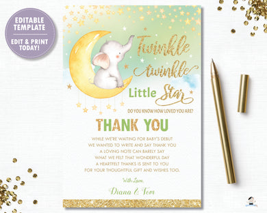 Whimsical Twinkle Twinkle Little Star Elephant Gender Neutral Green Baby Shower Thank You Card - Instant Download DIY EDITABLE TEMPLATE - TS1