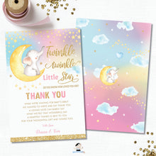 Load image into Gallery viewer, Whimsical Twinkle Twinkle Little Star Elephant Baby Girl Shower Thank You Card - Instant Download DIY EDITABLE TEMPLATE - TS1