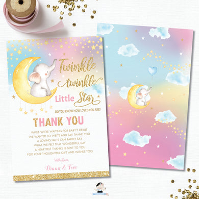 Whimsical Twinkle Twinkle Little Star Elephant Baby Girl Shower Thank You Card - Instant Download DIY EDITABLE TEMPLATE - TS1
