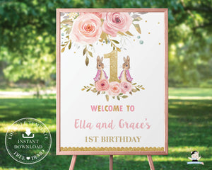 Twin Girls Bunny Rabbit 1st Birthday Welcome Sign - Editable Template - Digital Printable File - Instant Download - CB3