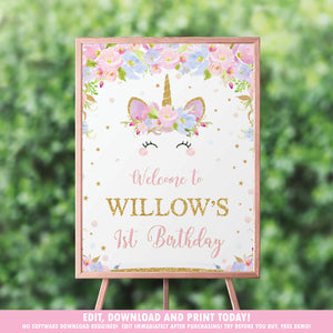 Unicorn Birthday Party / Baby Shower Welcome Sign Poster - EDITABLE TEMPLATE - Digital Printable File - Instant Download - UB2