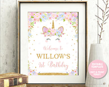 Load image into Gallery viewer, Unicorn Birthday Party / Baby Shower Welcome Sign Poster - EDITABLE TEMPLATE - Digital Printable File - Instant Download - UB2