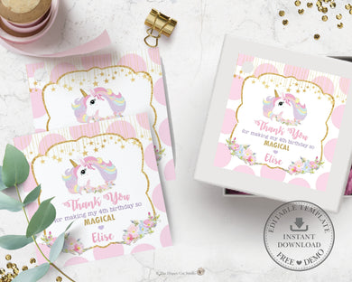 Unicorn Pink and Gold Polka Dots Square Thank You Tags - Editable Template - Instant Download - Digital Printable File - UB8