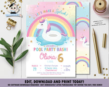 Load image into Gallery viewer, Unicorn Pool Birthday Party Invitation - Instant EDITABLE TEMPLATE - UF1