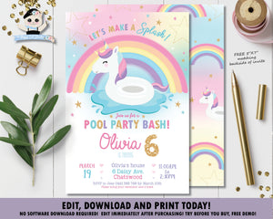 Unicorn Pool Birthday Party Invitation - Instant EDITABLE TEMPLATE - UF1
