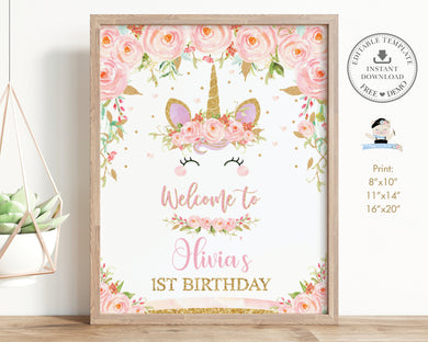 Pink Floral Cute Unicorn Baby Shower Birthday Party Welcome Sign Editable Template - Digital Printable File - Instant Download - UB1