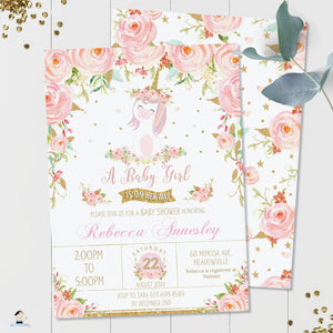 Whimsical Pink Floral Unicorn Baby Girl Shower Invitation Editable Template - Instant Download - Digital Printable File - UB1
