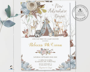 Whimsical Woodland Animals Baby Shower Boy Invitation Bundle Set - Editable Template - Digital Printable File - Instant Download - WA1