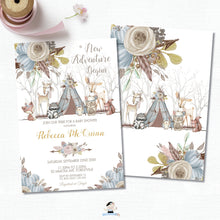 Load image into Gallery viewer, Whimsical Woodland Animals Baby Shower Boy Invitation - Editable Template - Digital Printable File - Instant Download - WA1