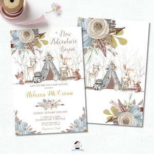 Whimsical Woodland Animals Baby Shower Boy Invitation - Editable Template - Digital Printable File - Instant Download - WA1