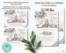 Load image into Gallery viewer, Whimsical Woodland Animals Baby Shower Boy Invitation Bundle Set - Editable Template - Digital Printable File - Instant Download - WA1