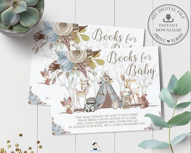 Blue Floral Tribal Woodland Animals Baby Boy Shower Bring a Book instead of a Card Inserts - Digital Printable File - Instant Download - WA1