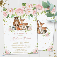 Load image into Gallery viewer, Whimsical Pink Floral Woodland Animals Baby Shower Invitation Editable Template - Instant Download - Digital Printable File - WG8