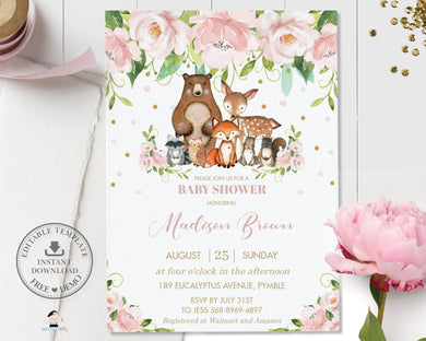 Whimsical Pink Floral Woodland Animals Baby Shower Invitation Editable Template - Instant Download - Digital Printable File - WG8
