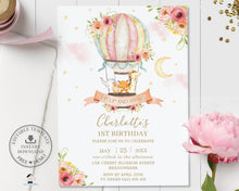 Load image into Gallery viewer, Whimsical Hot Air Balloon Cute Animals Birthday Invitation - Editable Template - Digital Printable File - HB7