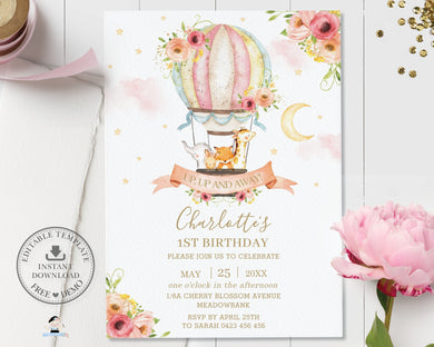 Whimsical Hot Air Balloon Cute Animals Birthday Invitation - Editable Template - Digital Printable File - HB7