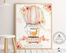 Load image into Gallery viewer, Whimsical Blush Pink Floral Hot Air Balloon Baby Animals Birth Stats - Editable Template - Instant Download - HB7