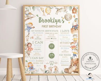 Cute Nursery Rhyme 1st Birthday Milestone Sign Birth Stats Editable Template - Digital Printable File - Instant Download - NR1