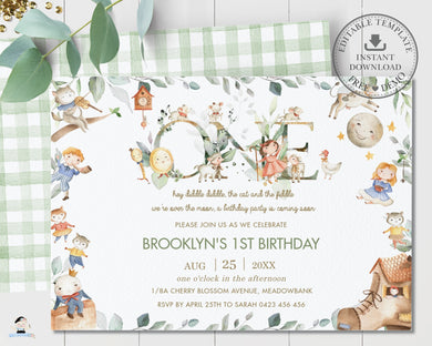 Chic Nursery Rhyme 1st Birthday Invitation Gender Neutral Editable Template - Digital Printable File - Instant Download - NR1