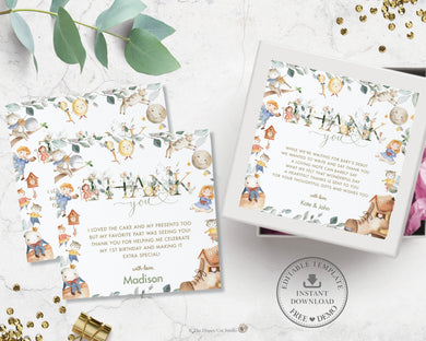 Greenery Cute Nursery Rhyme Baby Shower Birthday Thank You Favor Tags - Editable Template - Digital Printable File - Instant Download - NR1