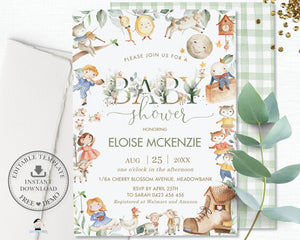 Chic Greenery Nursery Rhyme Baby Shower Invitation Editable Template - Digital Printable File - Instant Download - NR1