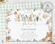 Load image into Gallery viewer, Cute Nursery Rhyme Baby Shower Invitation Editable Template - Digital Printable File - Instant Download - NR1