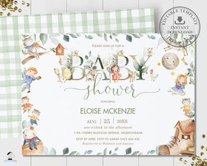 Cute Nursery Rhyme Baby Shower Invitation Editable Template - Digital Printable File - Instant Download - NR1