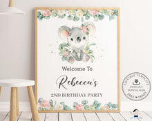 Load image into Gallery viewer, Cute Koala Floral Greenery Welcome Sign Editable Template - Instant Download - Digital Printable File - AU2