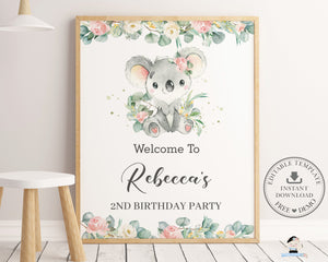 Cute Koala Floral Greenery Welcome Sign Editable Template - Instant Download - Digital Printable File - AU2