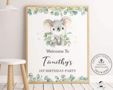Cute Koala Greenery Welcome Sign Editable Template - Instant Download - Digital Printable File - AU2
