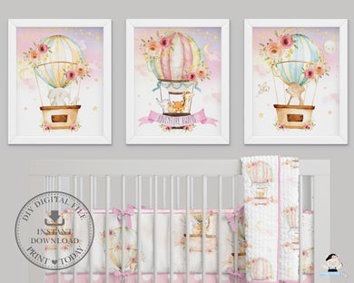 Set of 3 Whimsical Pink Floral Girl Hot Air Balloon Baby Animals Nursery Wall Art - 16