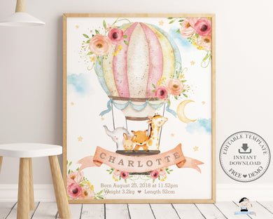Whimsical Blush Floral Hot Air Balloon Baby Animals Birth Stats - Editable Template - Instant Download - HB7