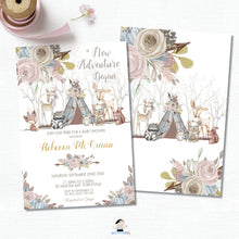 Load image into Gallery viewer, Whimsical Woodland Animals Baby Shower Girl Invitation - Editable Template - Digital Printable File - Instant Download - WA1