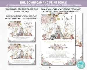 Whimsical Woodland Animals Baby Shower Girl Invitation Bundle Set - Editable Template - Digital Printable File - Instant Download - WA1