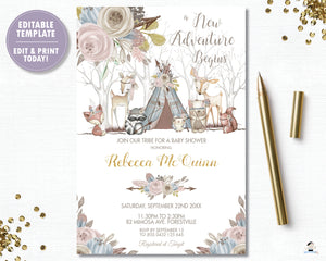 Whimsical Woodland Animals Baby Shower Girl Invitation - Editable Template - Digital Printable File - Instant Download - WA1