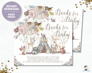 Whimsical Woodland Animals Baby Girl Shower Bring a Book instead of a Card Inserts - Digital Printable File - Instant Download - WA1