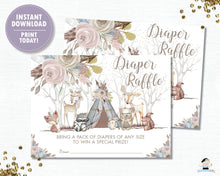 Load image into Gallery viewer, Whimsical Woodland Animals Baby Girl Shower Diaper Raffle Tickets Inserts - Digital Printable File - Instant Download - WA1