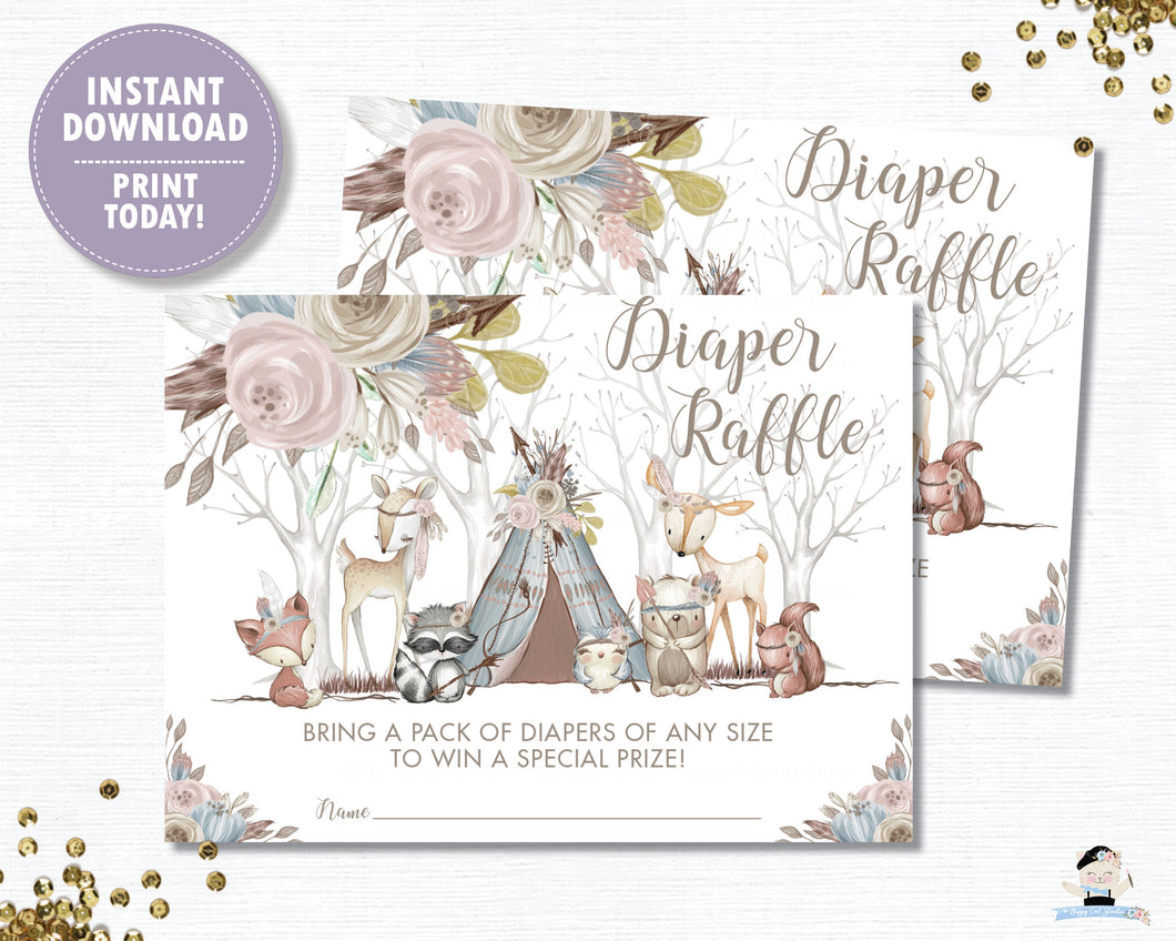 Whimsical Woodland Animals Baby Girl Shower Diaper Raffle Tickets Inserts - Digital Printable File - Instant Download - WA1