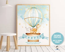 Load image into Gallery viewer, whimsical hot air balloon baby animals name and birth stats nursery wall art decor for baby boy editable template