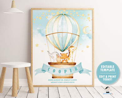 whimsical hot air balloon baby animals name and birth stats nursery wall art decor for baby boy editable template