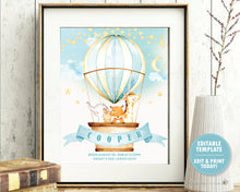Load image into Gallery viewer, Whimsical watercolour cute jungle animals in a hot air balloon birth stats nursery wall art editable template
