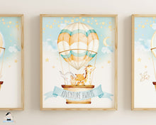Load image into Gallery viewer, hot air balloon woodland animals nursery wall art decor instant download printable files