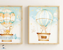 Load image into Gallery viewer, hot air balloon cute animals nursery wall art decor instant download files